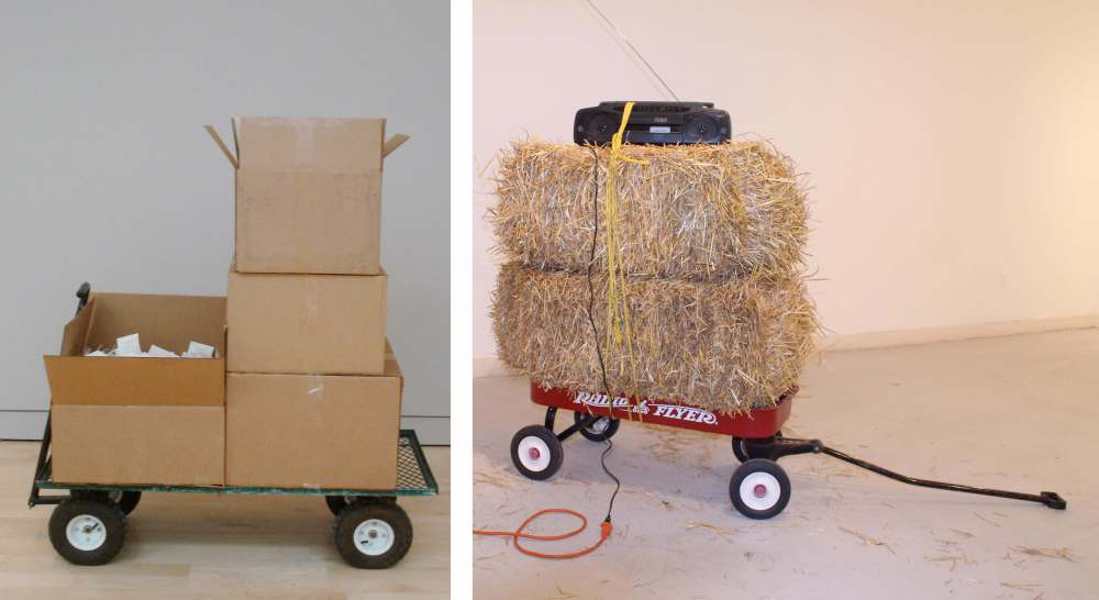 Mobile Landscapes (right:wagon, hay, rope, electronics), 2011